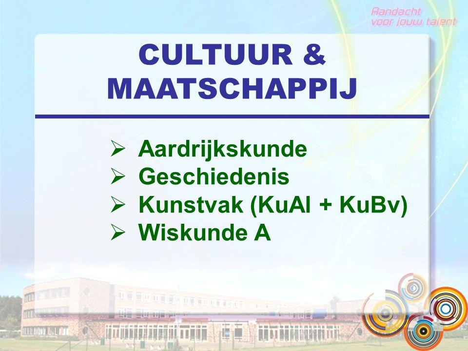 CULTUUR & MAATSCHAPPIJ  Aardrijkskunde  Geschiedenis  Kunstvak (KuAl + KuBv)  Wiskunde A