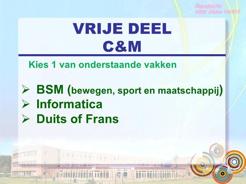 VRIJE DEEL C&M  BSM ( bewegen, sport en maatschappij )  Informatica  Duits of Frans Kies 1 van onderstaande vakken