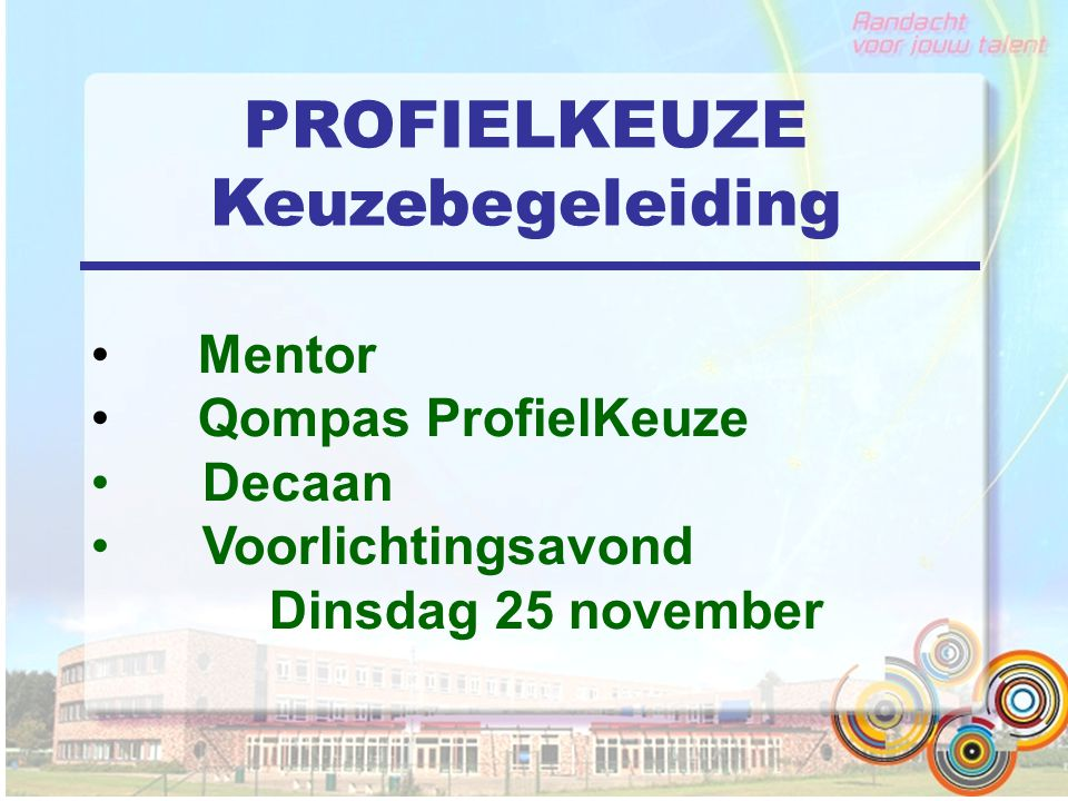 PROFIELKEUZE Keuzebegeleiding Mentor Qompas ProfielKeuze Decaan Voorlichtingsavond Dinsdag 25 november