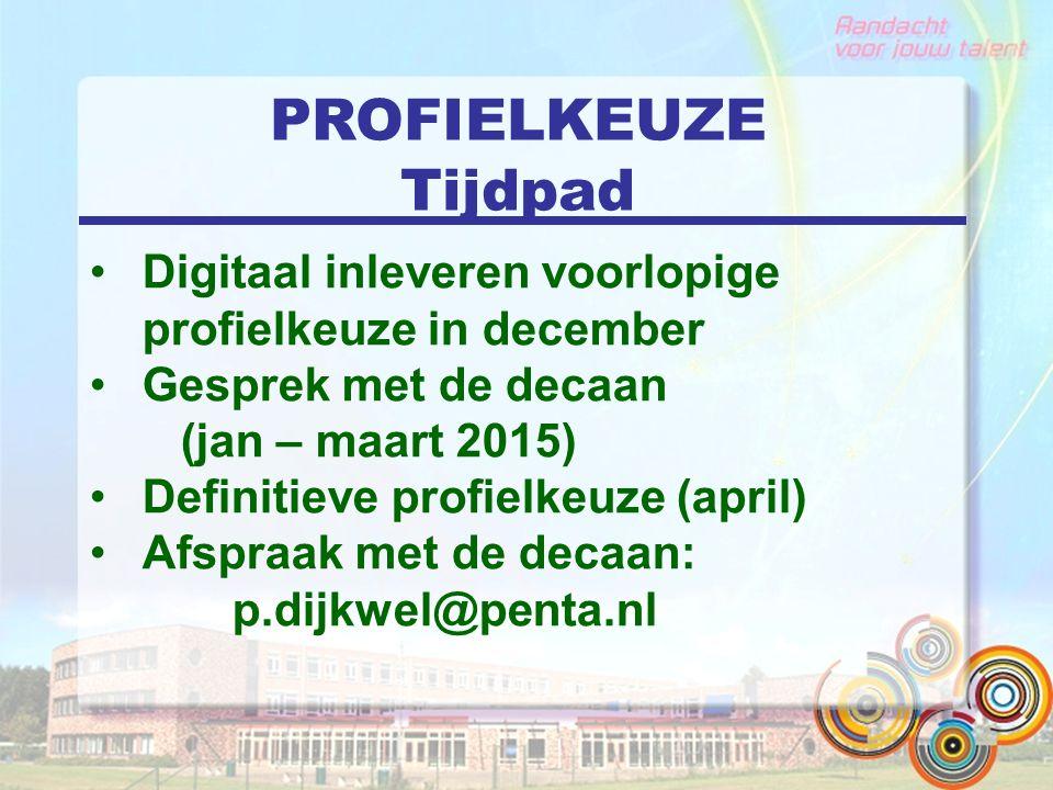 PROFIELKEUZE Tijdpad Digitaal inleveren voorlopige profielkeuze in december Gesprek met de decaan (jan – maart 2015) Definitieve profielkeuze (april) Afspraak met de decaan: p.dijkwel@penta.nl