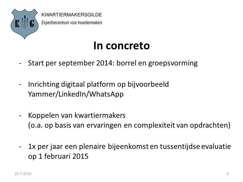 In concreto 25-7-20148 -Start per september 2014: borrel en groepsvorming -Inrichting digitaal platform op bijvoorbeeld Yammer/LinkedIn/WhatsApp -Koppelen van kwartiermakers (o.a.