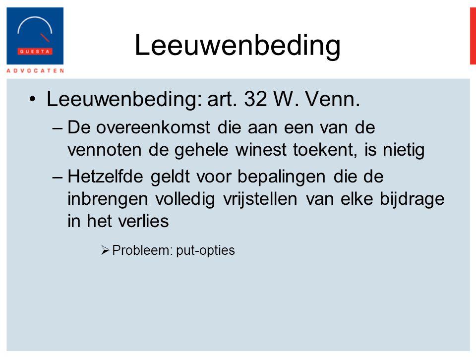 Leeuwenbeding Leeuwenbeding: art.32 W. Venn.