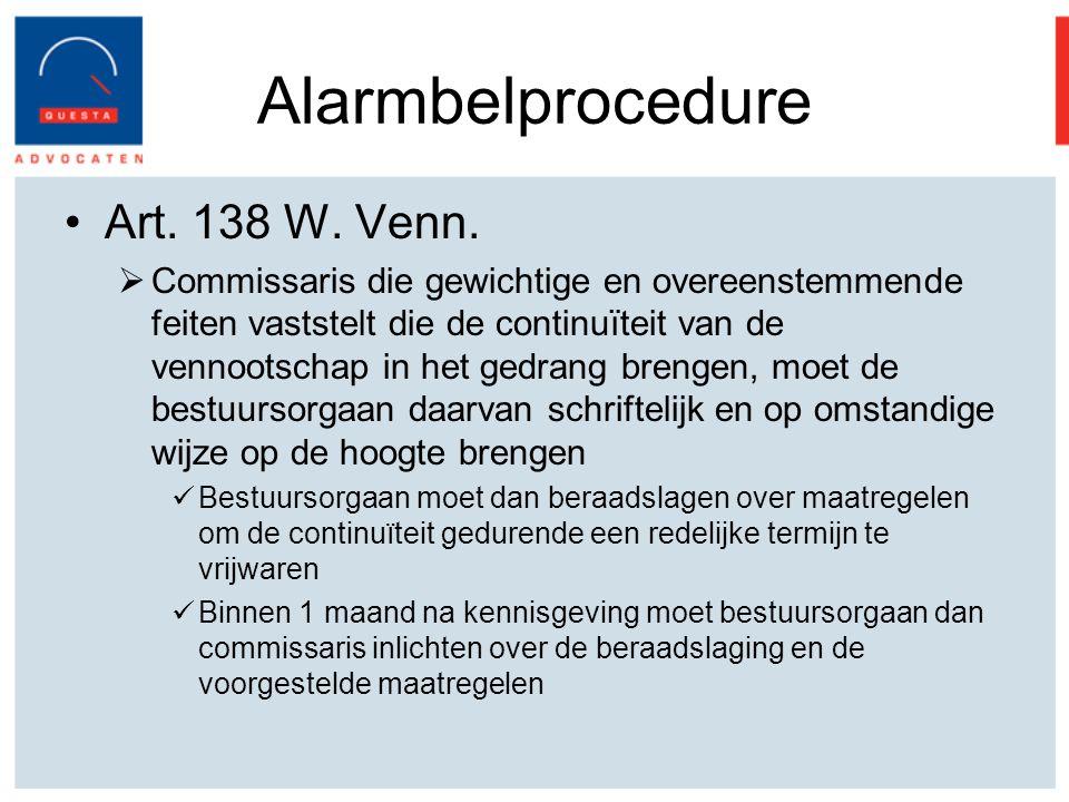 Alarmbelprocedure Art.138 W. Venn.