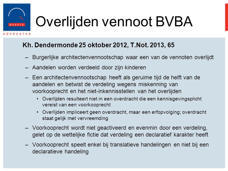 Overlijden vennoot BVBA Kh.Dendermonde 25 oktober 2012, T.Not.