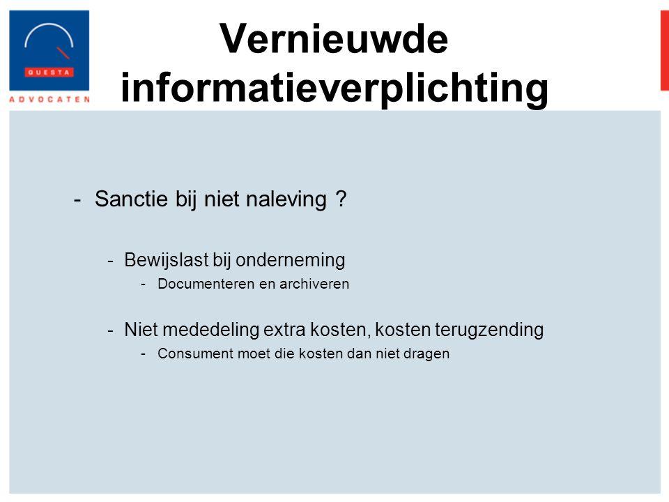 Vernieuwde informatieverplichting -Sanctie bij niet naleving .
