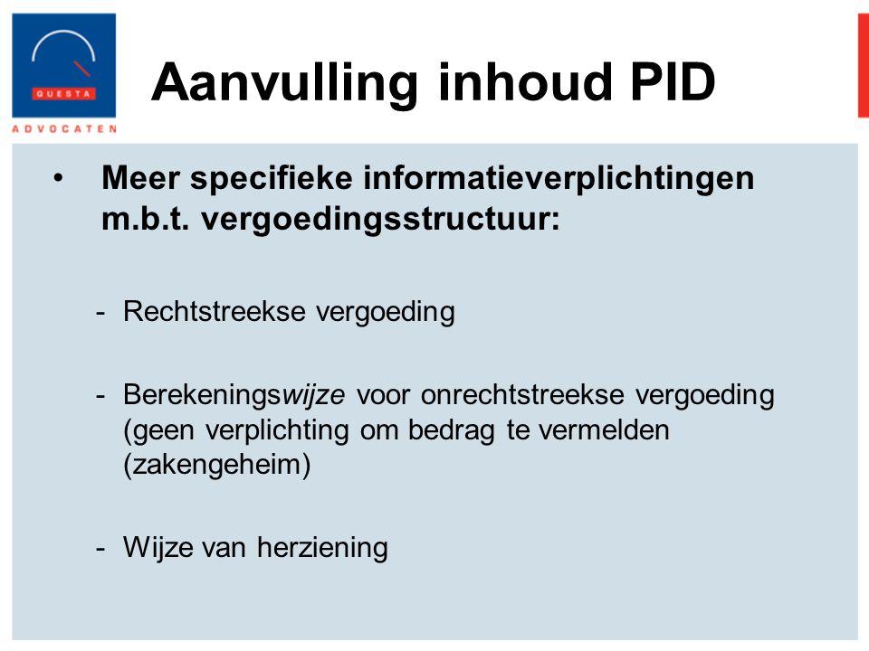 Aanvulling inhoud PID Meer specifieke informatieverplichtingen m.b.t.