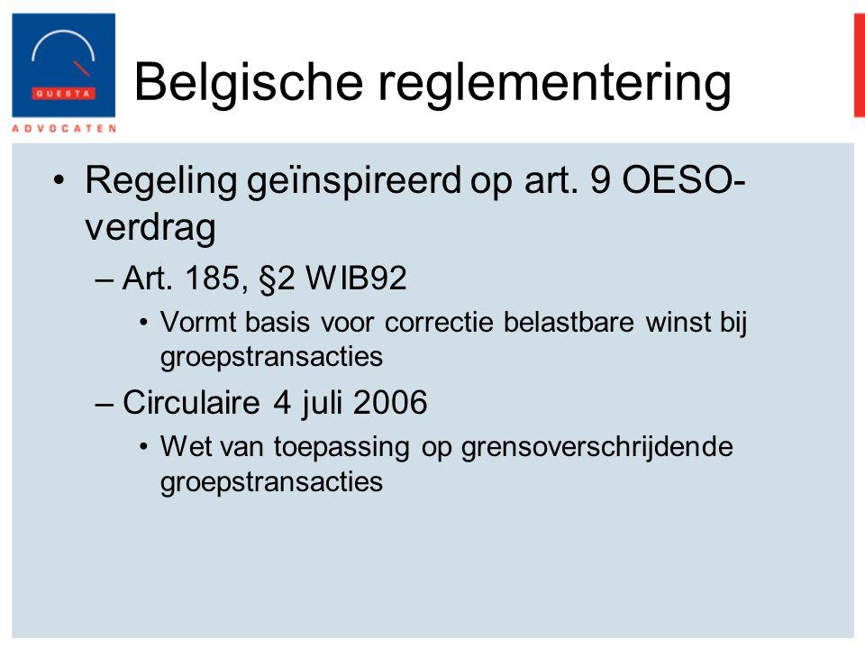 Belgische reglementering Regeling geïnspireerd op art.