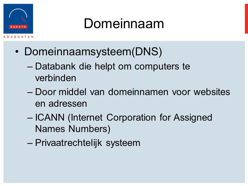 Domeinnaam Domeinnaamsysteem(DNS) –Databank die helpt om computers te verbinden –Door middel van domeinnamen voor websites en adressen –ICANN (Internet Corporation for Assigned Names Numbers) –Privaatrechtelijk systeem