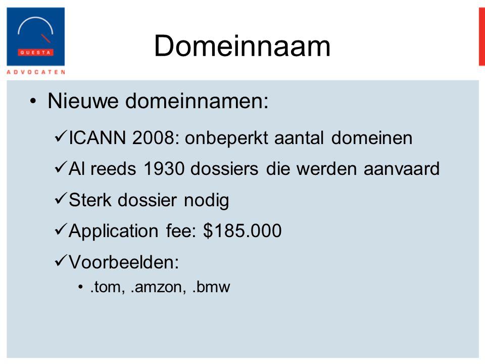 Domeinnaam Nieuwe domeinnamen: ICANN 2008: onbeperkt aantal domeinen Al reeds 1930 dossiers die werden aanvaard Sterk dossier nodig Application fee: $185.000 Voorbeelden:.tom,.amzon,.bmw