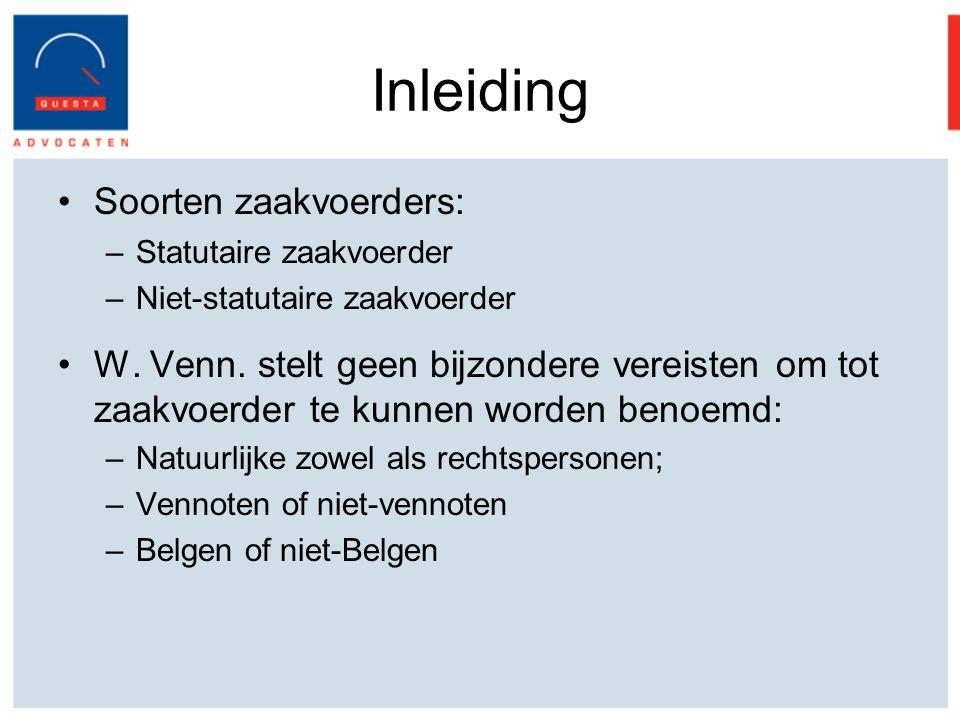 Inleiding Soorten zaakvoerders: –Statutaire zaakvoerder –Niet-statutaire zaakvoerder W.