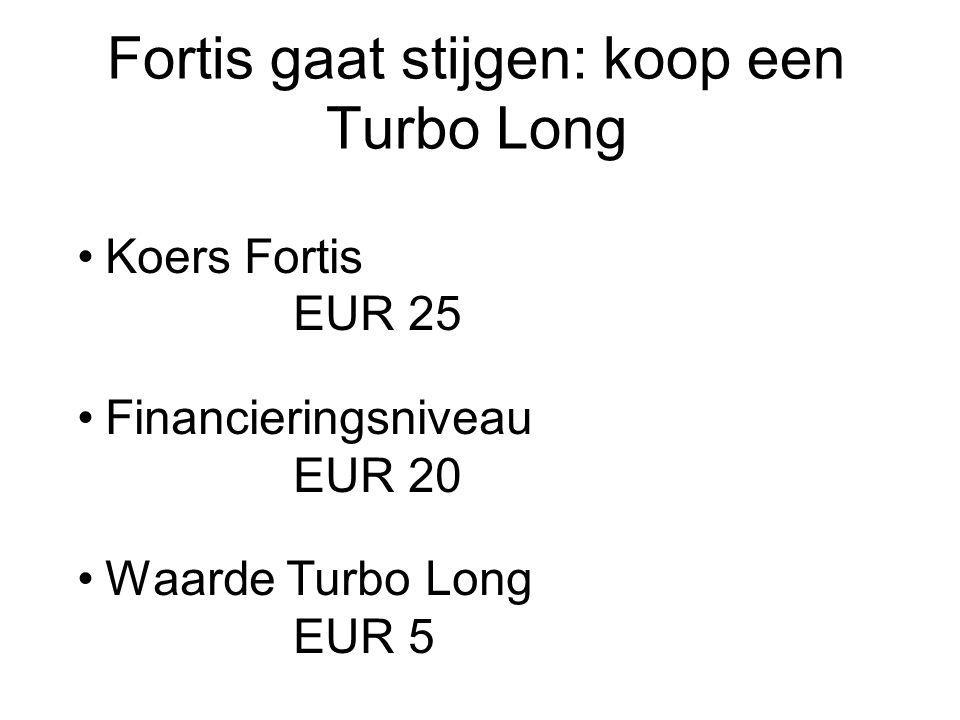 Fortis gaat stijgen: koop een Turbo Long Koers Fortis EUR 25 Financieringsniveau EUR 20 Waarde Turbo Long EUR 5 Stop loss-niveau EUR 21,50 Hefboom25/5