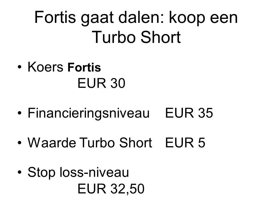 Fortis gaat dalen: koop een Turbo Short Koers Fortis EUR 30 FinancieringsniveauEUR 35 Waarde Turbo ShortEUR 5 Stop loss-niveau EUR 32,50 Hefboom30/5 =