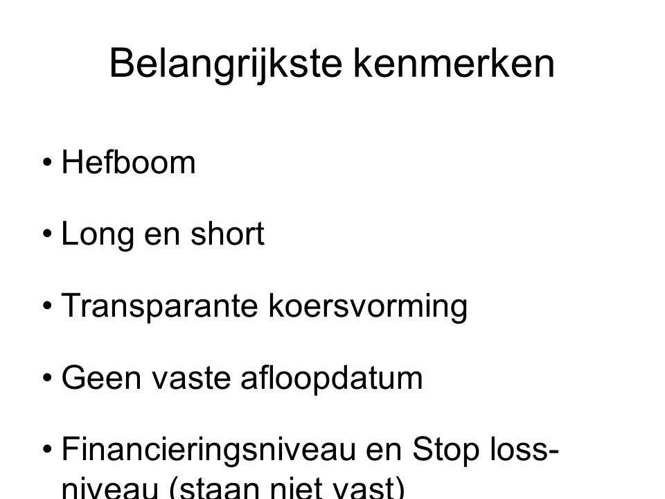 Belangrijkste kenmerken Hefboom Long en short Transparante koersvorming Geen vaste afloopdatum Financieringsniveau en Stop loss- niveau (staan niet vast) Genoteerd in Euro en verhandelbaar op Euronext Amsterdam (9:05 – 17:25) Maximale verlies beperkt tot inleg Veel onderliggende waarden