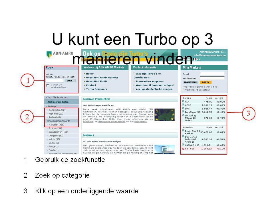 U kunt een Turbo op 3 manieren vinden 1 2 3