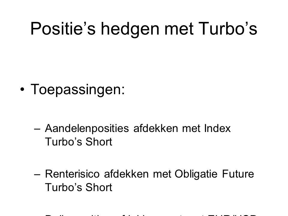 Positie's hedgen met Turbo's Toepassingen: –Aandelenposities afdekken met Index Turbo's Short –Renterisico afdekken met Obligatie Future Turbo's Short –Dollarposities afdekken met met EUR/USD Turbo's Long Let op stop loss-niveau's!