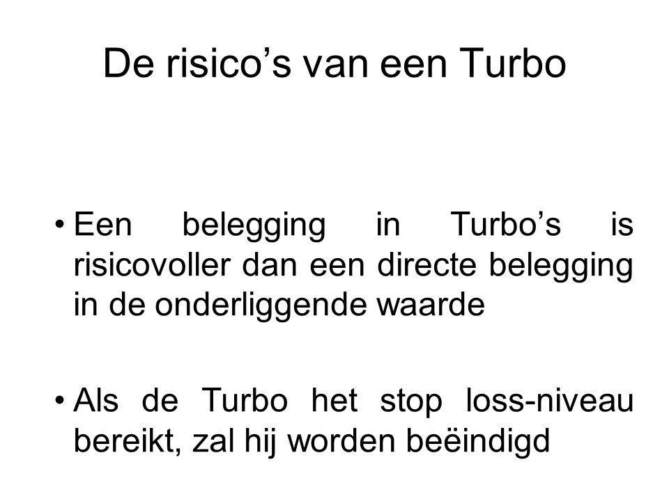 De risico's van een Turbo Een belegging in Turbo's is risicovoller dan een directe belegging in de onderliggende waarde Als de Turbo het stop loss-niveau bereikt, zal hij worden beëindigd Op dat moment kunt u uw hele belegging verliezen Indien de onderliggende waarde in buitenlandse valuta is genoteerd, kan de koers van de Turbo negatief worden beïnvloed door wisselkoerseffecten