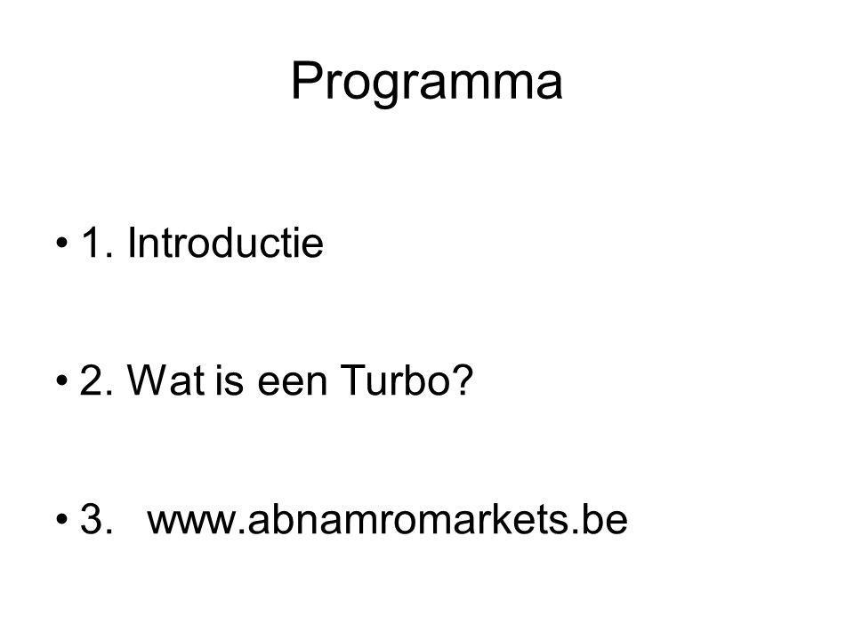 Financieringskosten worden dagelijks berekend over het financieringsniveau In het voorbeeld bedragen deze ongeveer EUR 0,0026 per dag Dat is ongeveer 0,0026 x 60 = EUR 0,156 over 60 dagen Transactiekosten & spread Financieringsopbrengsten bij de meeste Turbo's Short De kosten van de Turbo