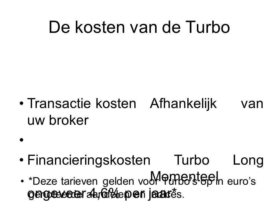 Transactie kostenAfhankelijk van uw broker Financieringskosten Turbo Long Momenteel ongeveer 4,6% per jaar* Financieringsopbrengsten Turbo Short Momenteel ongeveer 1,6% per jaar* Bied-laat spreadVerschilt per Turbo Bijvoorbeeld: Een AEX Turbo heeft onder normale marktomstandigheden een bied/laatspread van EUR 0,04.