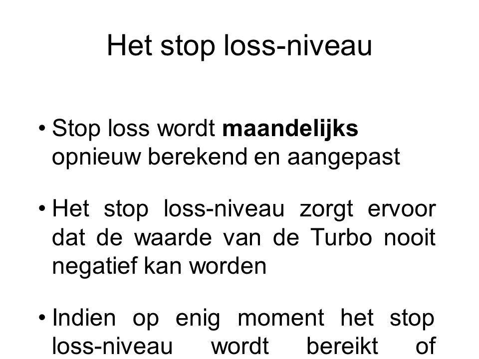 Het stop loss-niveau Stop loss wordt maandelijks opnieuw berekend en aangepast Het stop loss-niveau zorgt ervoor dat de waarde van de Turbo nooit nega