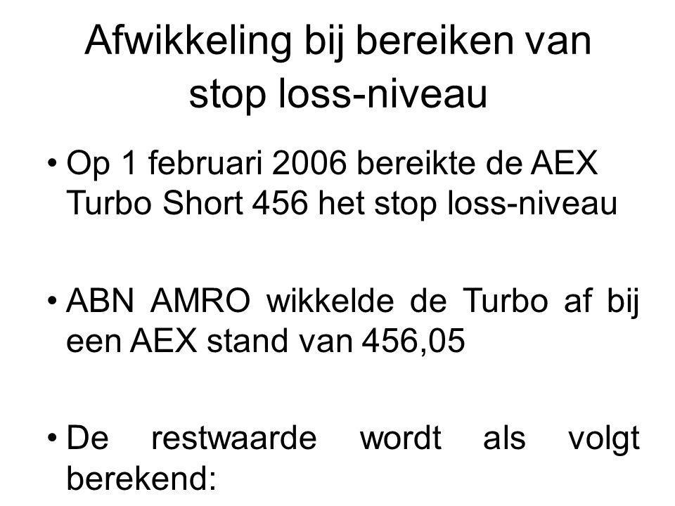 Op 1 februari 2006 bereikte de AEX Turbo Short 456 het stop loss-niveau ABN AMRO wikkelde de Turbo af bij een AEX stand van 456,05 De restwaarde wordt