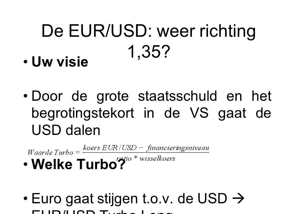 De EUR/USD: weer richting 1,35? Uw visie Door de grote staatsschuld en het begrotingstekort in de VS gaat de USD dalen Welke Turbo? Euro gaat stijgen