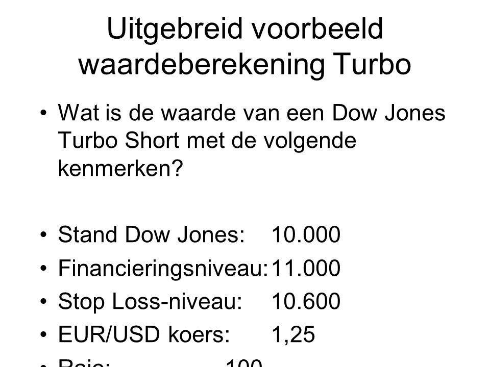 Uitgebreid voorbeeld waardeberekening Turbo Wat is de waarde van een Dow Jones Turbo Short met de volgende kenmerken? Stand Dow Jones:10.000 Financier