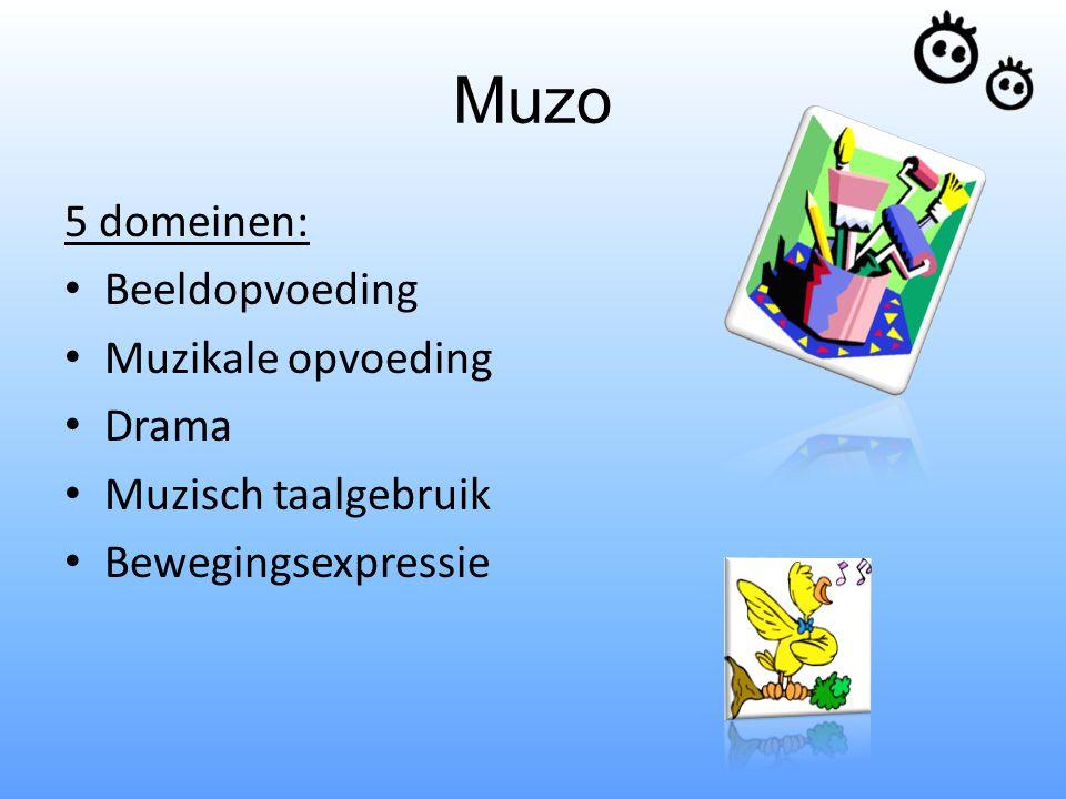 Muzo 5 domeinen: Beeldopvoeding Muzikale opvoeding Drama Muzisch taalgebruik Bewegingsexpressie