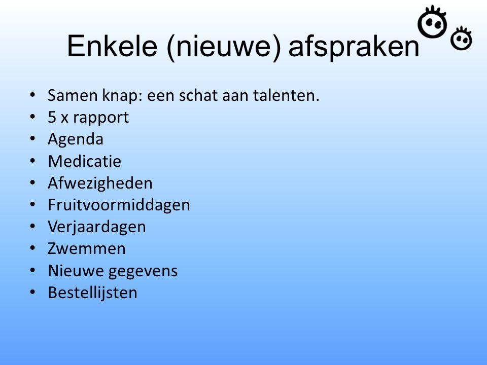 Enkele (nieuwe) afspraken Samen knap: een schat aan talenten. 5 x rapport Agenda Medicatie Afwezigheden Fruitvoormiddagen Verjaardagen Zwemmen Nieuwe