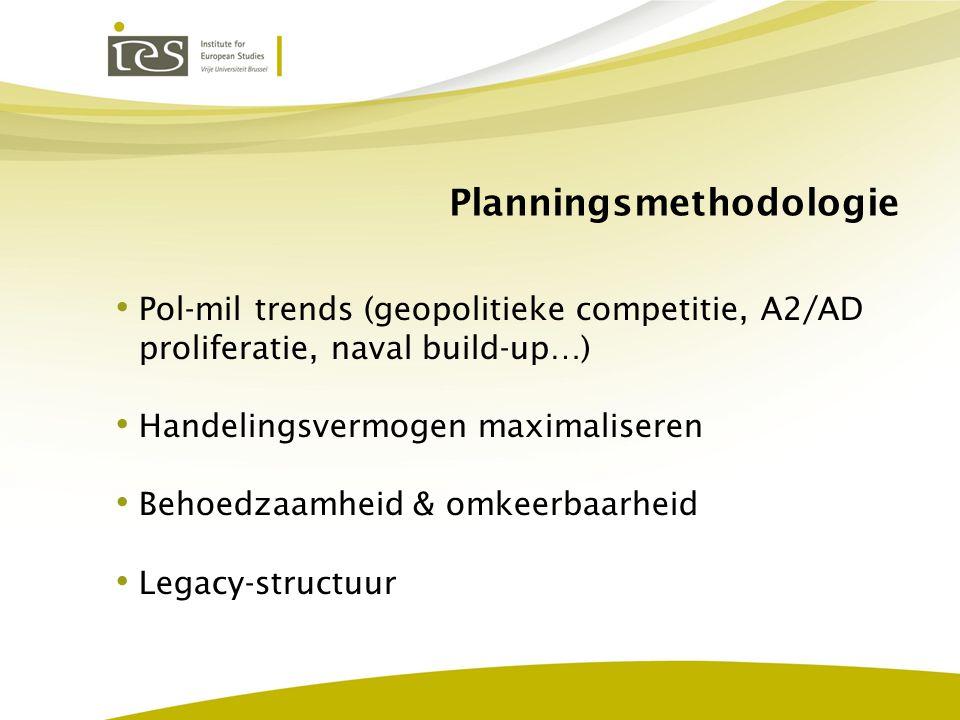 Planningsmethodologie Pol-mil trends (geopolitieke competitie, A2/AD proliferatie, naval build-up…) Handelingsvermogen maximaliseren Behoedzaamheid &