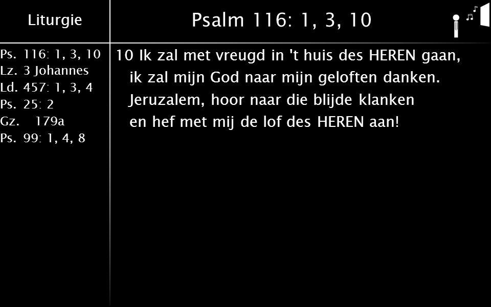 Liturgie Ps.116: 1, 3, 10 Lz.3 Johannes Ld.457: 1, 3, 4 Ps.25: 2 Gz. 179a Ps.99: 1, 4, 8 Psalm 116: 1, 3, 10 10Ik zal met vreugd in 't huis des HEREN