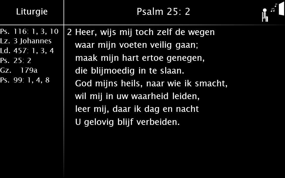 Liturgie Ps.116: 1, 3, 10 Lz.3 Johannes Ld.457: 1, 3, 4 Ps.25: 2 Gz. 179a Ps.99: 1, 4, 8 Psalm 25: 2 2Heer, wijs mij toch zelf de wegen waar mijn voet