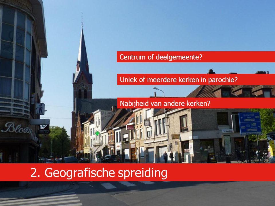 2. Geografische spreiding Centrum of deelgemeente? Uniek of meerdere kerken in parochie? Nabijheid van andere kerken?