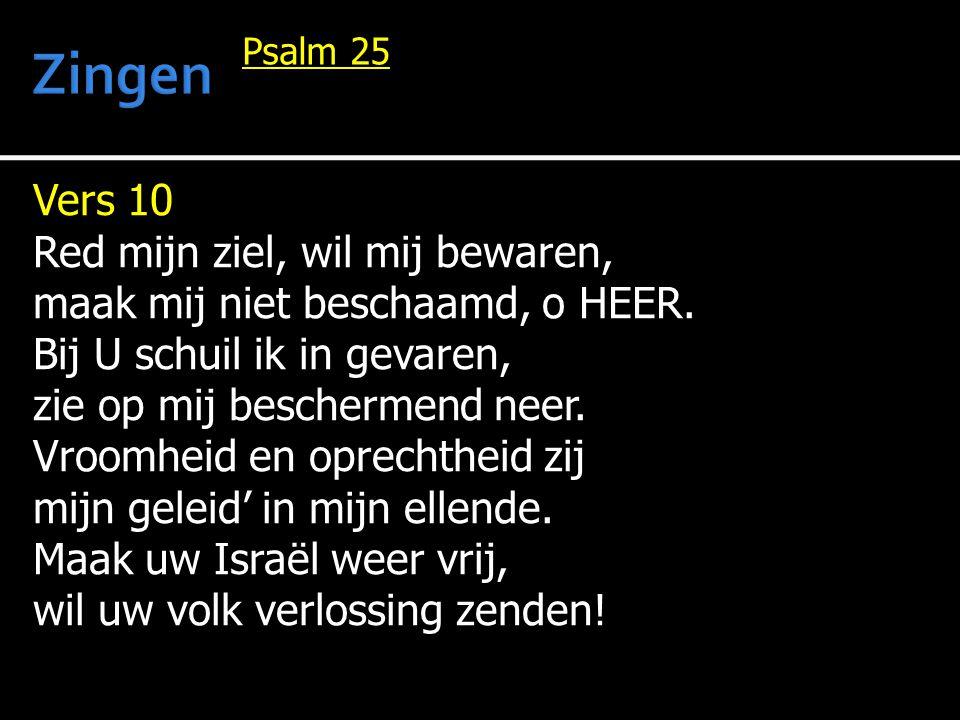Vers 10 Red mijn ziel, wil mij bewaren, maak mij niet beschaamd, o HEER.