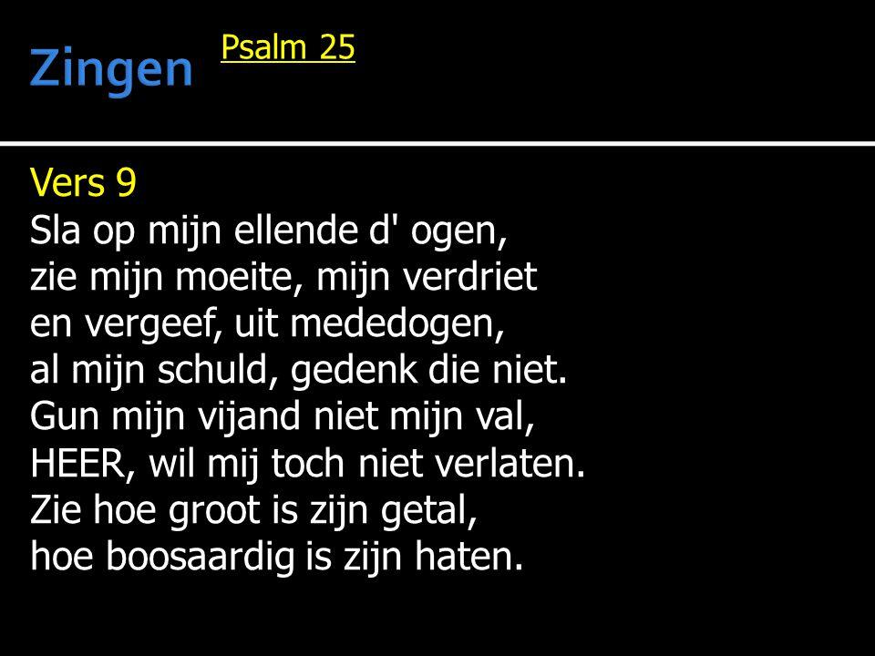 Vers 9 Sla op mijn ellende d ogen, zie mijn moeite, mijn verdriet en vergeef, uit mededogen, al mijn schuld, gedenk die niet.