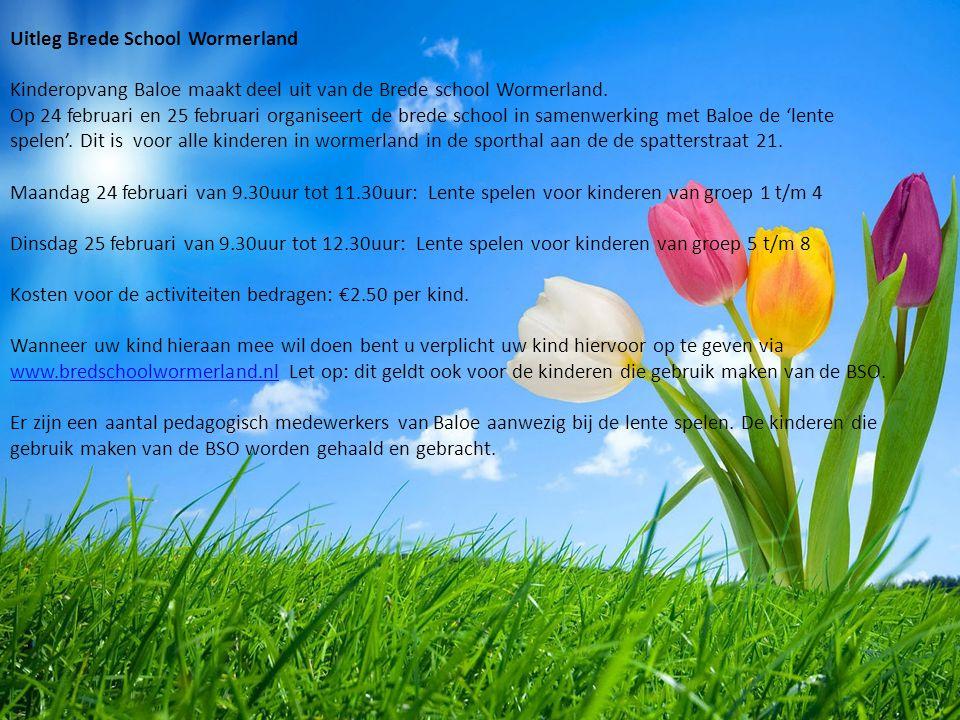 Uitleg Brede School Wormerland Kinderopvang Baloe maakt deel uit van de Brede school Wormerland.