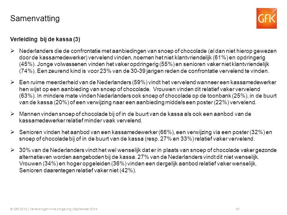 © GfK 2013 | Verleidingen in de omgeving | September 201451 Verleiding bij de kassa (3)  Nederlanders die de confrontatie met aanbiedingen van snoep