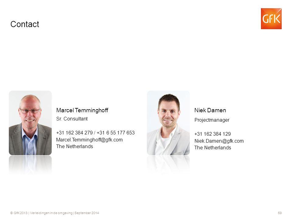 © GfK 2013 | Verleidingen in de omgeving | September 201459 +31 162 384 279 / +31 6 55 177 653 Sr. Consultant Marcel Temminghoff Marcel.Temminghoff@gf
