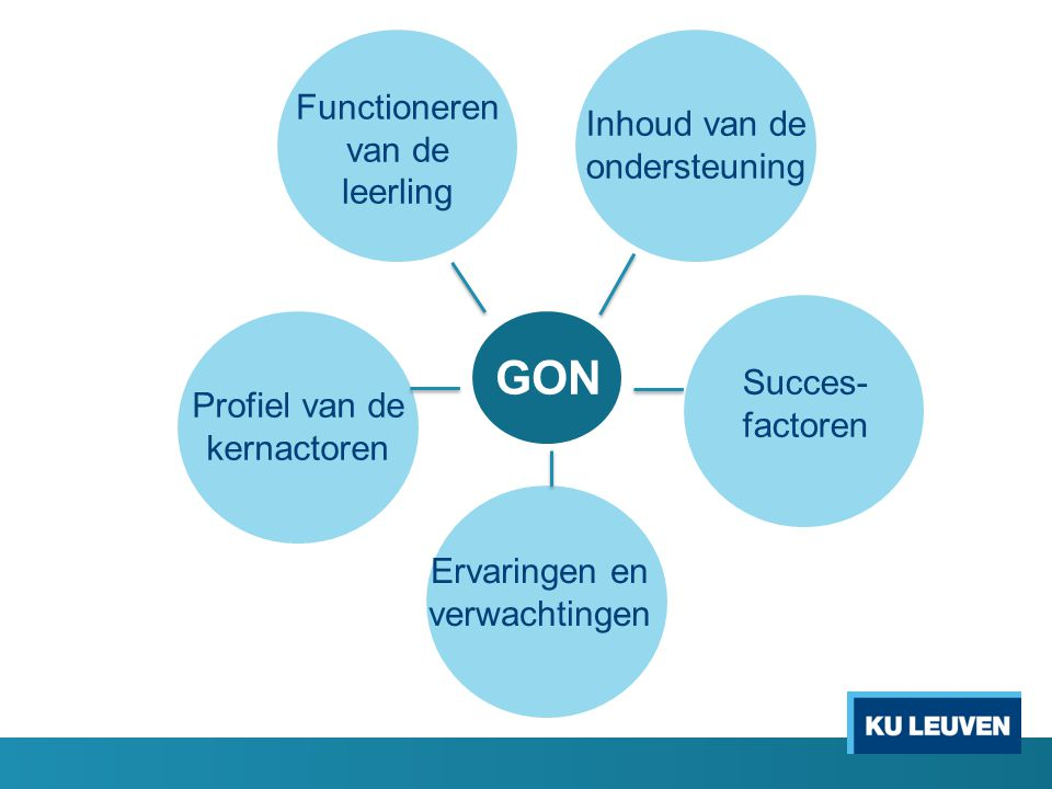 GON Profiel van de kernactoren Functioneren van de leerling Inhoud van de ondersteuning Succes- factoren Ervaringen en verwachtingen