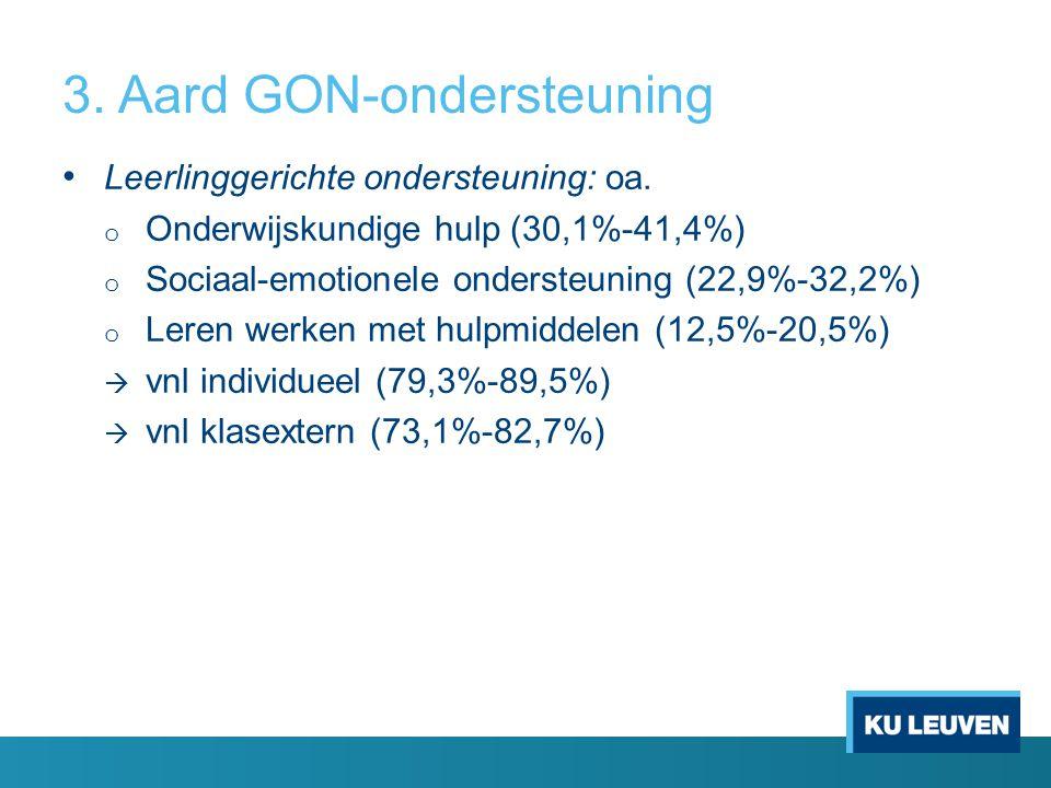 3. Aard GON-ondersteuning Leerlinggerichte ondersteuning: oa. o Onderwijskundige hulp (30,1%-41,4%) o Sociaal-emotionele ondersteuning (22,9%-32,2%) o