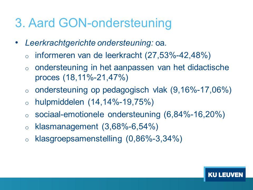 3. Aard GON-ondersteuning Leerkrachtgerichte ondersteuning: oa. o informeren van de leerkracht (27,53%-42,48%) o ondersteuning in het aanpassen van he