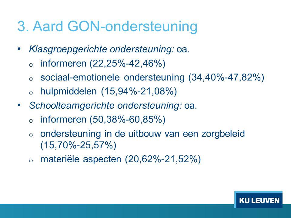 3. Aard GON-ondersteuning Klasgroepgerichte ondersteuning: oa. o informeren (22,25%-42,46%) o sociaal-emotionele ondersteuning (34,40%-47,82%) o hulpm