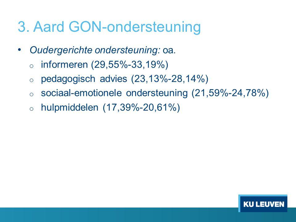 3. Aard GON-ondersteuning Oudergerichte ondersteuning: oa. o informeren (29,55%-33,19%) o pedagogisch advies (23,13%-28,14%) o sociaal-emotionele onde