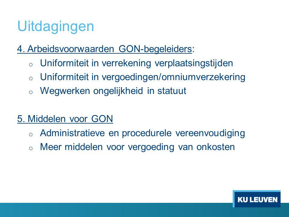 Uitdagingen 4. Arbeidsvoorwaarden GON-begeleiders: o Uniformiteit in verrekening verplaatsingstijden o Uniformiteit in vergoedingen/omniumverzekering