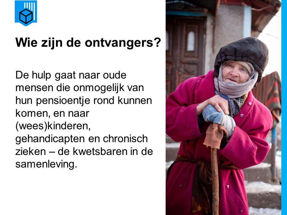 www.dorcas.nl Wie zijn de ontvangers? De hulp gaat naar oude mensen die onmogelijk van hun pensioentje rond kunnen komen, en naar (wees)kinderen, geha