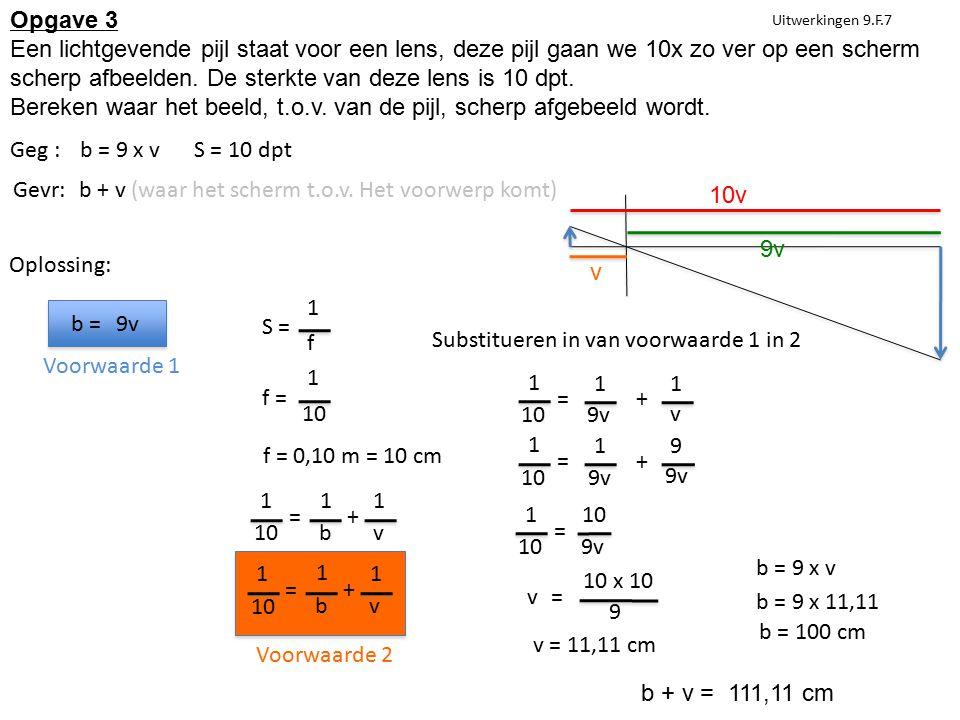 Uitwerkingen 9.F.7 Geg :b = 9 x vS = 10 dpt Gevr:b + v (waar het scherm t.o.v. Het voorwerp komt) Oplossing: b = 9v S = 1 f f = 1 10 f = 0,10 m = 10 c