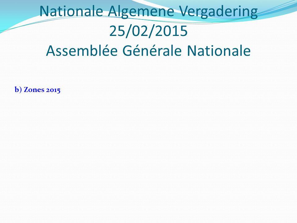 Nationale Algemene Vergadering 25/02/2015 Assemblée Générale Nationale b) Zones 2015