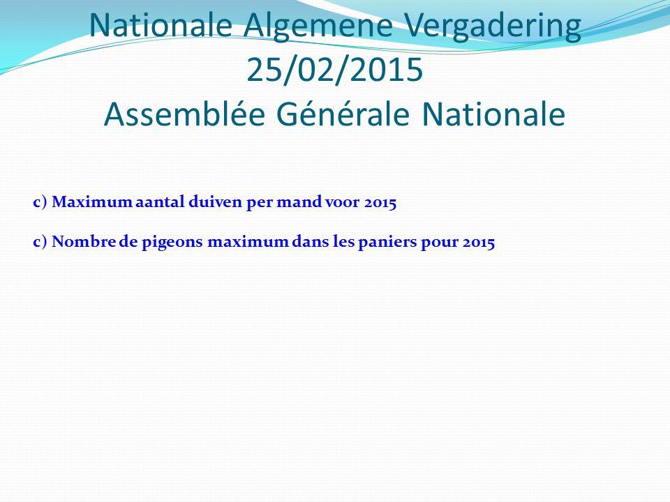 Nationale Algemene Vergadering 25/02/2015 Assemblée Générale Nationale c) Maximum aantal duiven per mand voor 2015 c) Nombre de pigeons maximum dans les paniers pour 2015