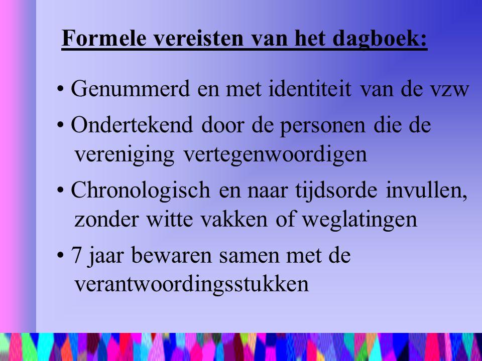 Formele vereisten van het dagboek: Genummerd en met identiteit van de vzw Ondertekend door de personen die de vereniging vertegenwoordigen Chronologis