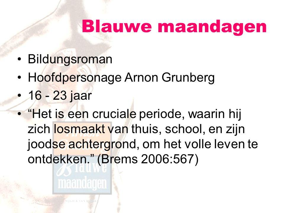 """Blauwe maandagen Bildungsroman Hoofdpersonage Arnon Grunberg 16 - 23 jaar """"Het is een cruciale periode, waarin hij zich losmaakt van thuis, school, en"""