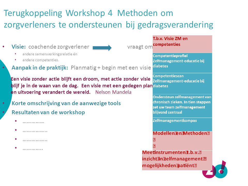 Terugkoppeling Workshop 4 Methoden om zorgverleners te ondersteunen bij gedragsverandering Visie: coachende zorgverlener vraagt om: andere samenwerkin